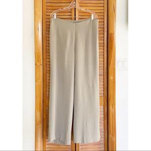 Eileen Fisher Tan Stretch Silk Straight Leg Pants